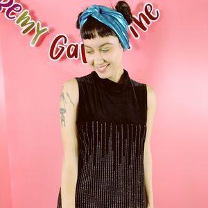 Vtg 80s Glitter Black Detail Velvet Maxi Dress L